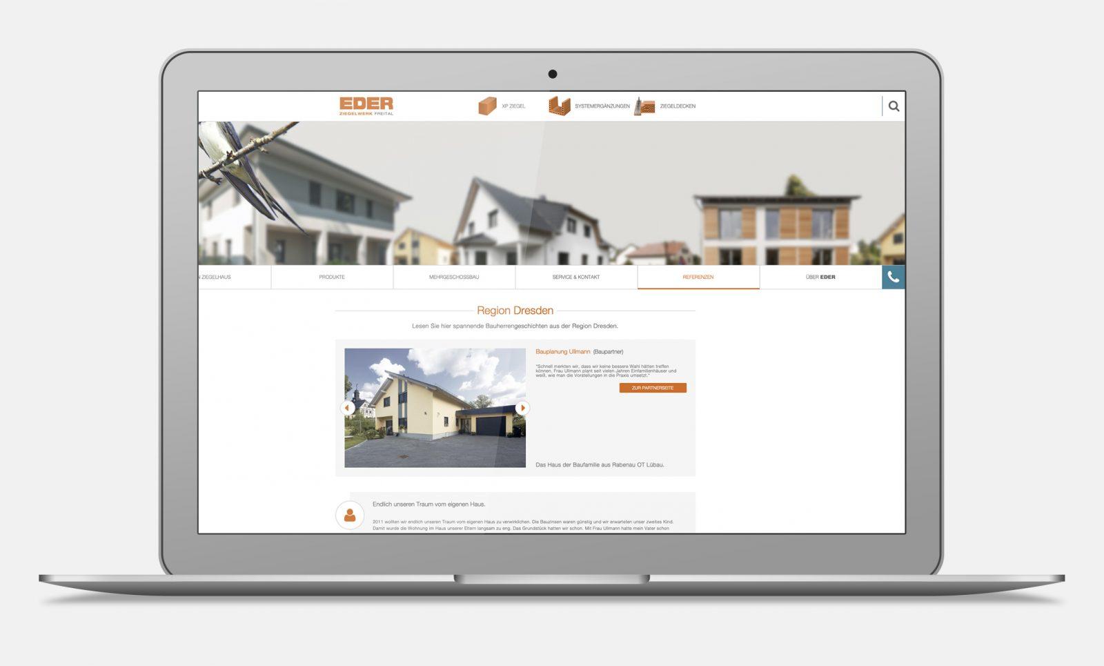 Webseite von Ziegel Eder von architekturfotografien