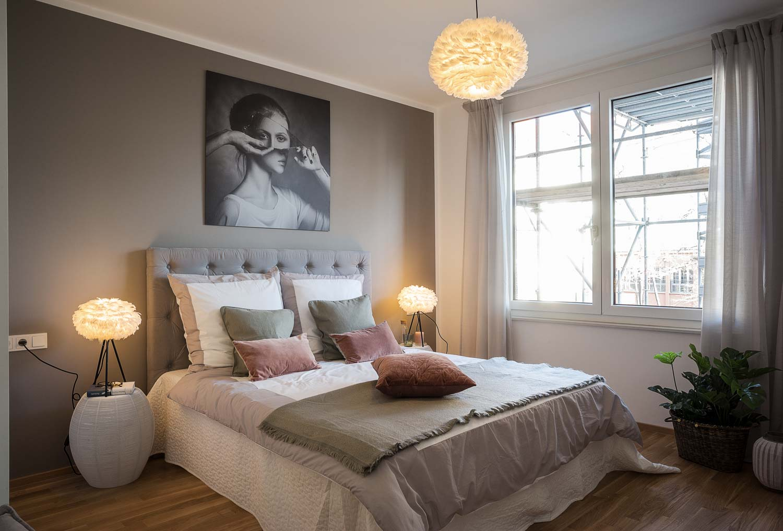 """Immobilienfotografie Schlafzimmer Musterwohnung """"Haus am Schauspielhaus"""" in Dresden"""