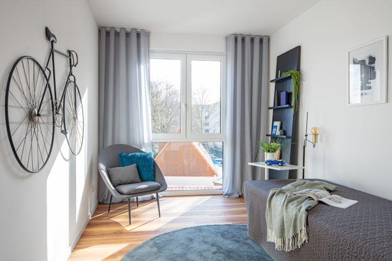 Gästezimmer in einer Musterwohnung in DresdenMusterwohnung in Dresden Immobilienfotograf Leipzig Chemnitz Dresden