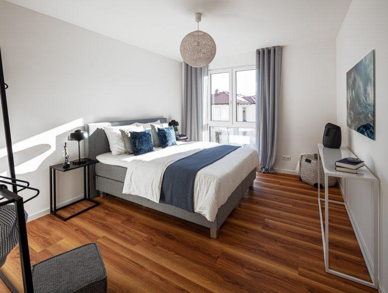 Schlafzimmer in der Musterwohnung in DresdenMusterwohnung in Dresden Immobilienfotograf Leipzig Chemnitz Dresden